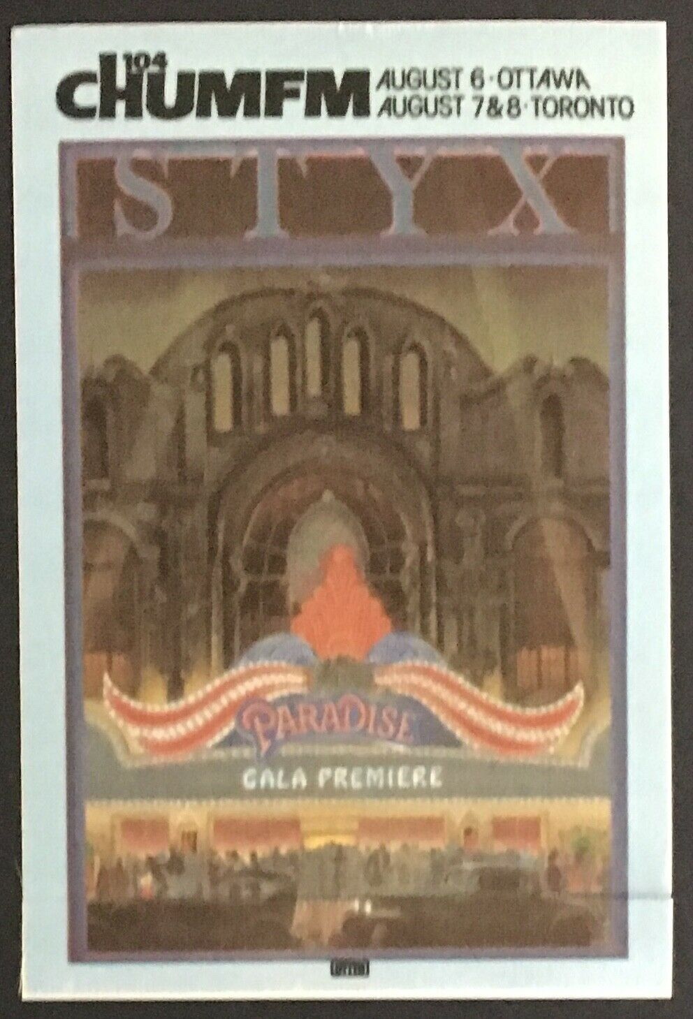 Vtg 1981 STYX Rock Band Concert Tour Decal Patch Paradise Gala Premiere Music