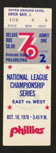 Load image into Gallery viewer, 1976 Philadelphia Phillies Baseball Ticket MLB NLCS Game 2 vs Cincinnati Reds