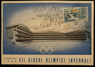 1956 Winter Olympics Cortina Italy Postcard Ice Stadium Hockey Postmarked