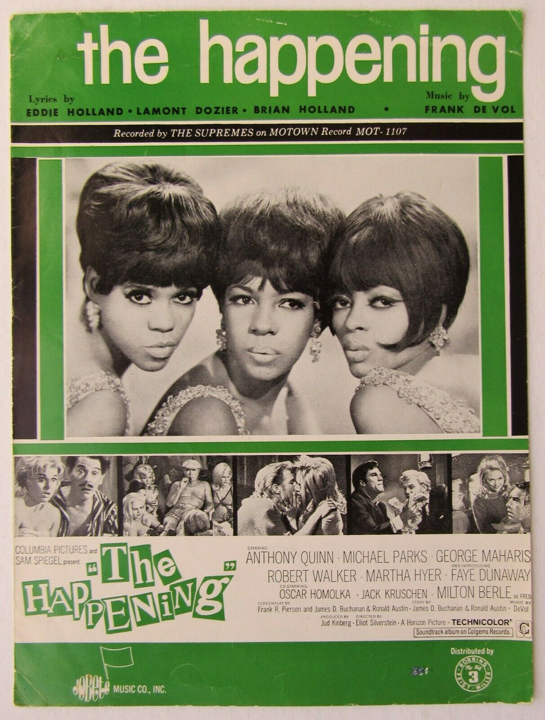 1967 The Supremes The Happening Sheet Music Rare PVG Motown Record Diana Ross