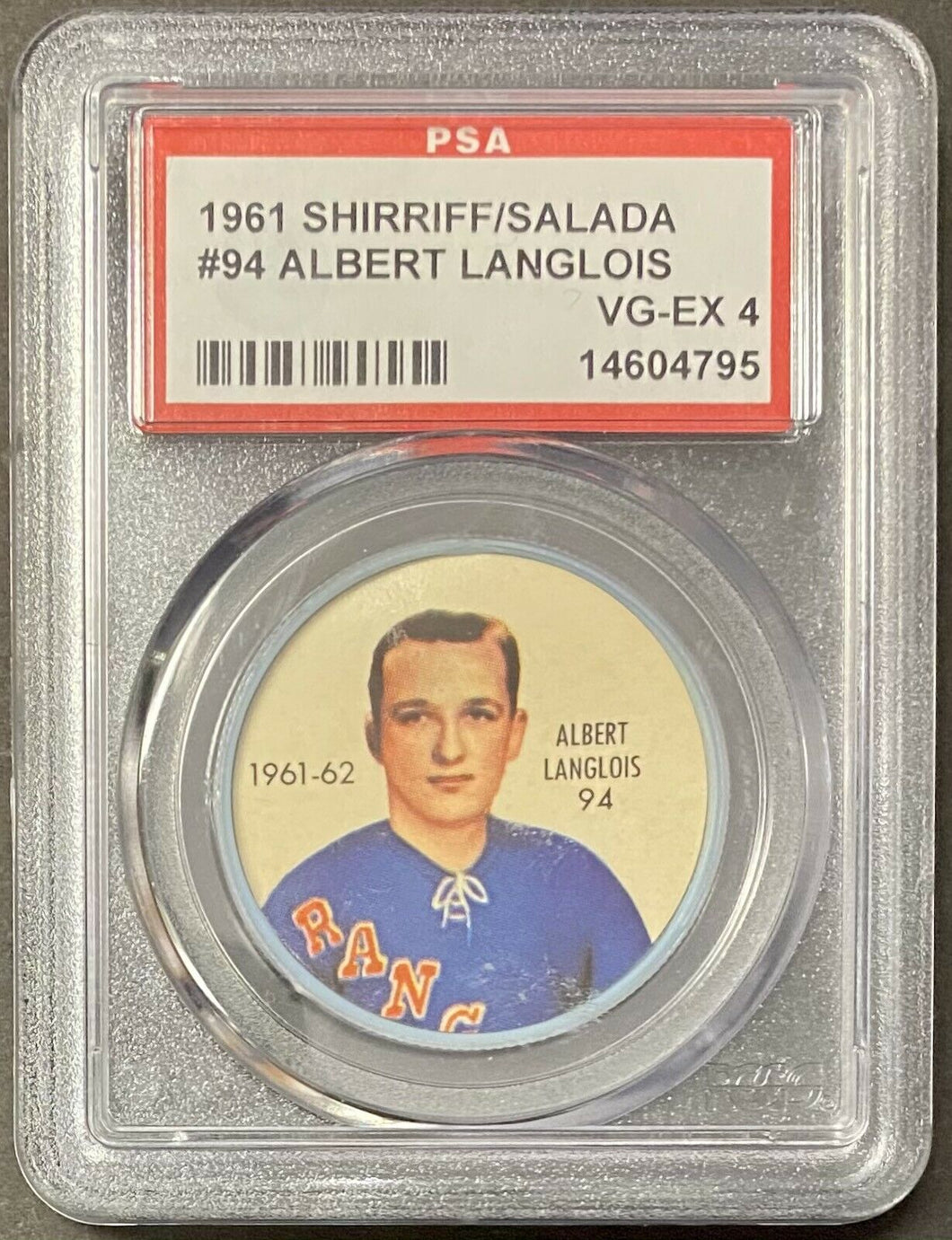 1961 Shirriff/Salada NHL New York Rangers Hockey Albert Langlois PSA Cert Coin