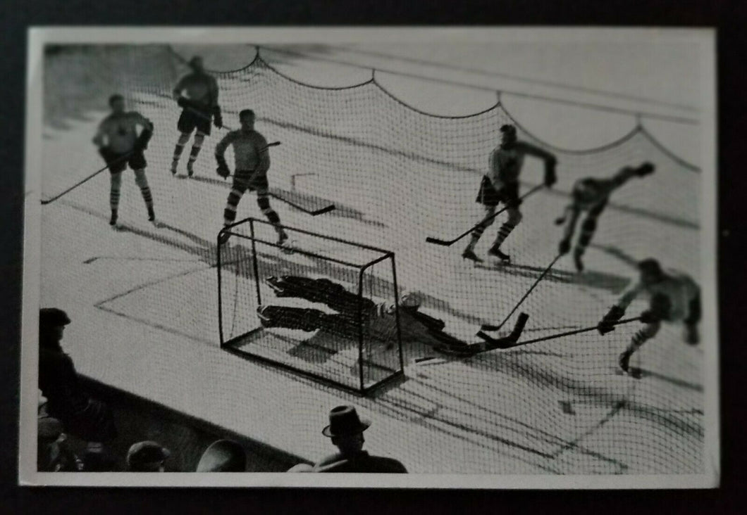 1936 Winter Olympics Hockey Photo Card Canada vs Austria Germany Vintage Sports