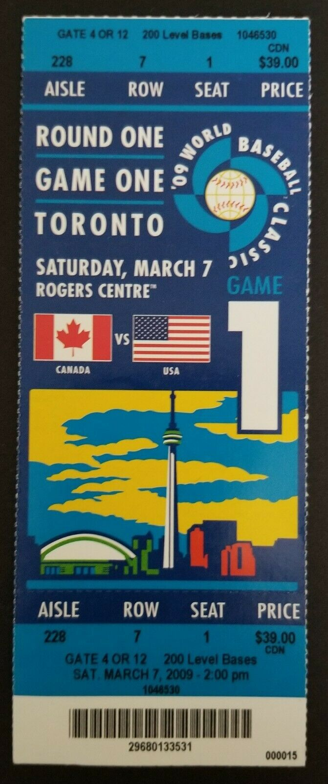 2009 World Baseball Classic Full Ticket Rogers Centre Canada vs US Joey Votto