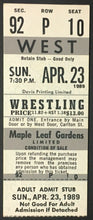 Load image into Gallery viewer, 1989 Maple Leaf Gardens Wrestling Ticket WWF Toronto Mr. Perfect vs Brett Hart