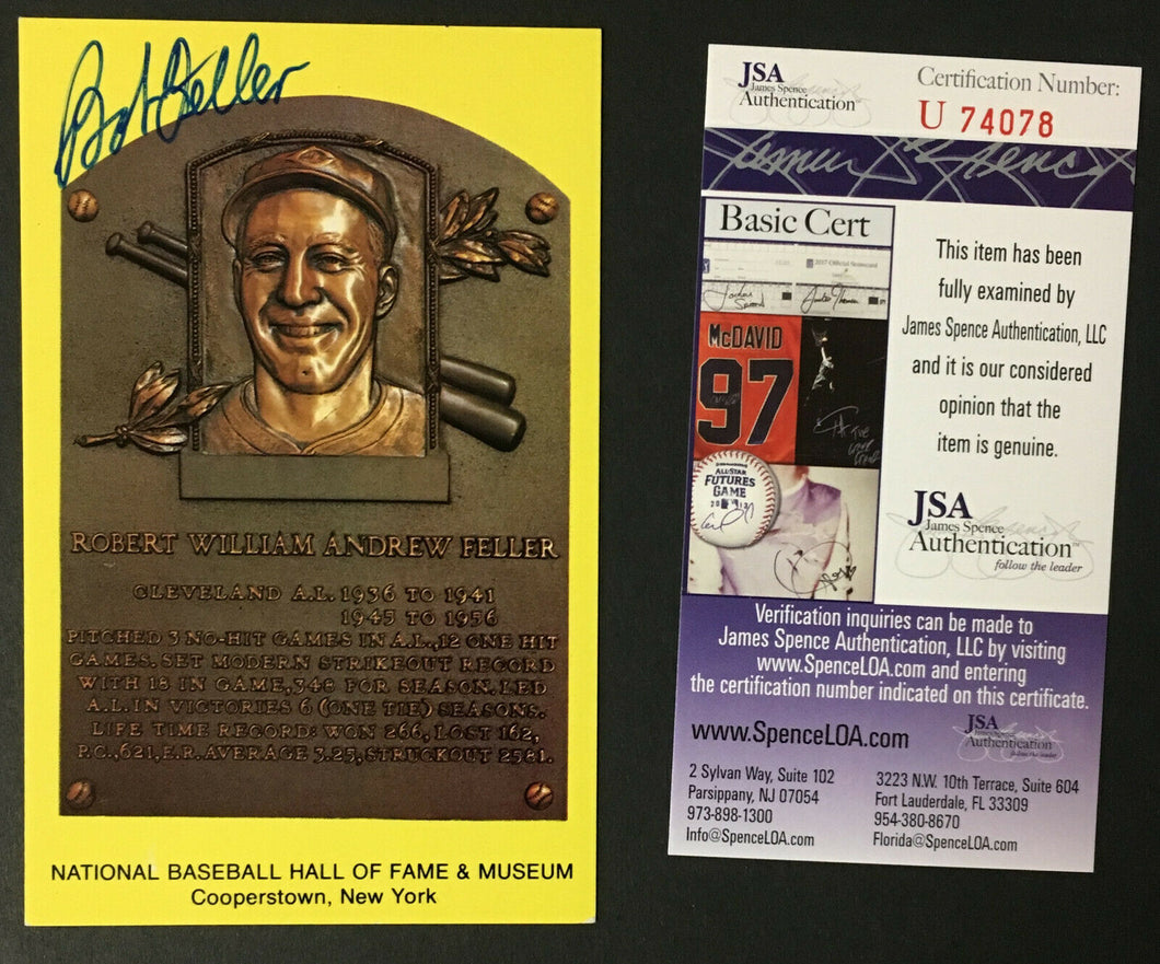 Bob Feller Signed Autograph Baseball Hall Of Fame Plaque Card Cleveland JSA