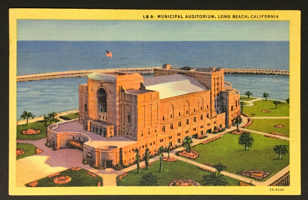1950s Municipal Auditorium Long Beach California Theatre Postcard Vintage