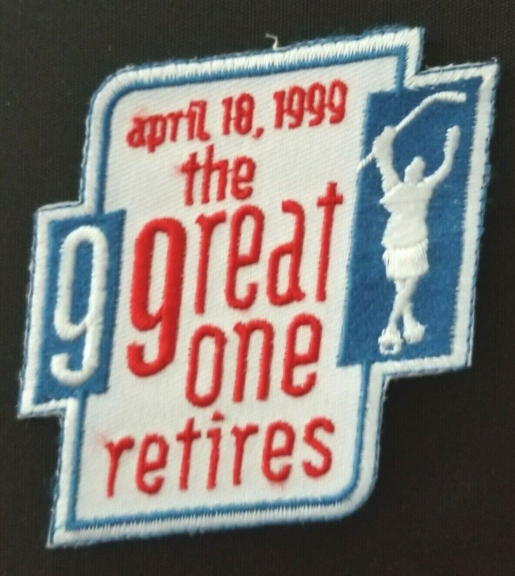 1999 NHL Hockey Retirement Day Patch Wayne Gretzky + Vintage Card The Great One