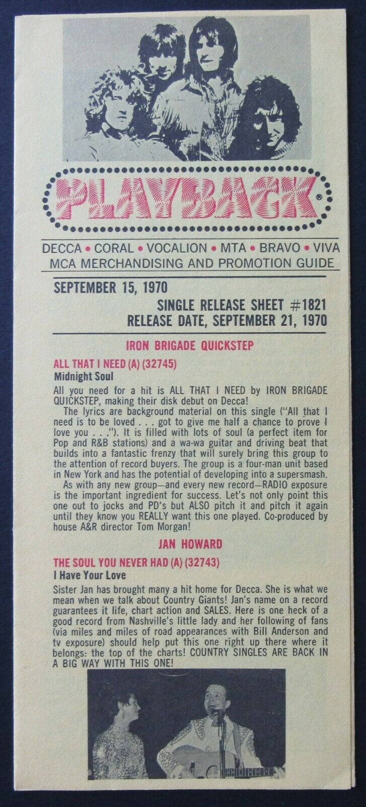 1970 Playback Record Industry Newsletter + Concert List Advertising Promo VTG
