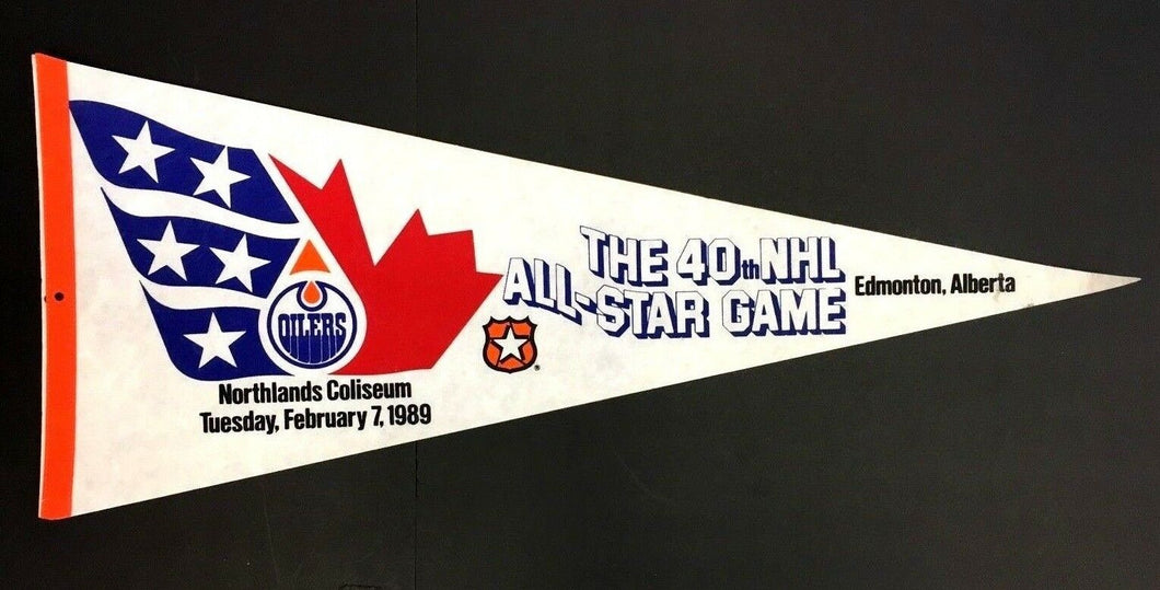 The 40th NHL All Star Game Pennant Edmonton Alberta Northlands Coliseum 1989