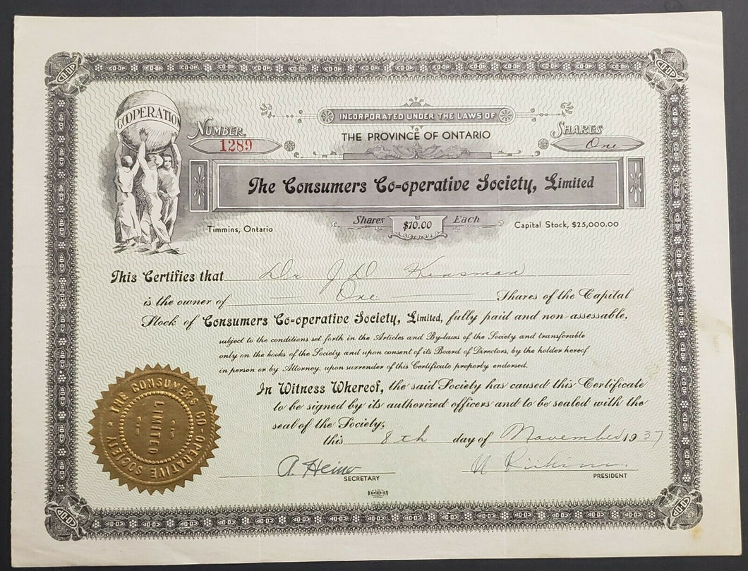 1937 Share Certificate For Consumers Co-Op in Timmins / Porcupine #1289 Ontario