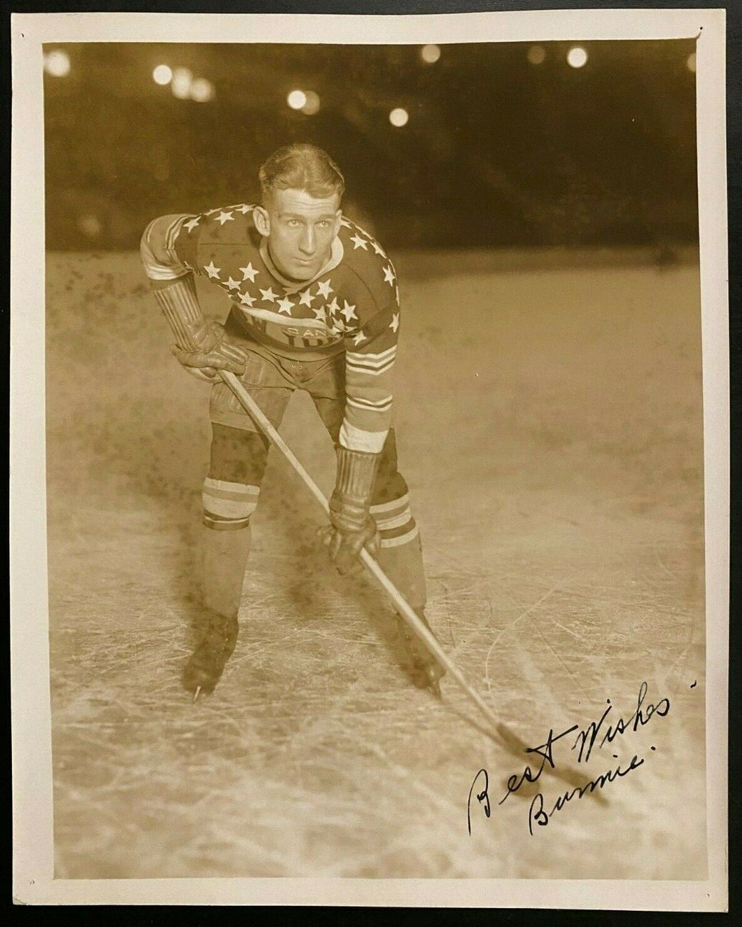 1930 NHL Hockey Vtg Photo Signed New York Americans Roy Burmister Autographed