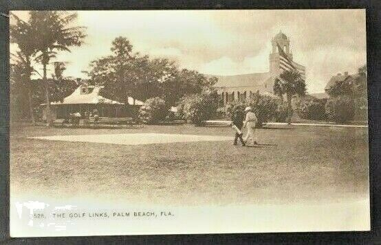 Early 1900s Postcard Palm Beach Florida Golf Links Vintage Unposted