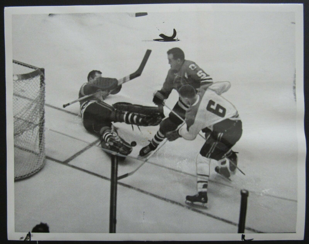 1962 NHL Stanley Cup Semi Finals Press Photo Chicago Blackhawks vs Canadiens