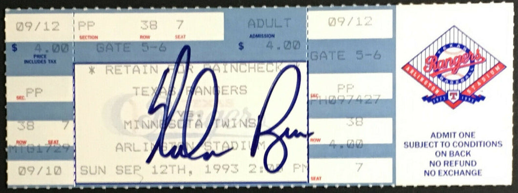 1993 Nolan Ryan Signed Ticket Texas Rangers Last Season MLB Minnesota Twins JSA