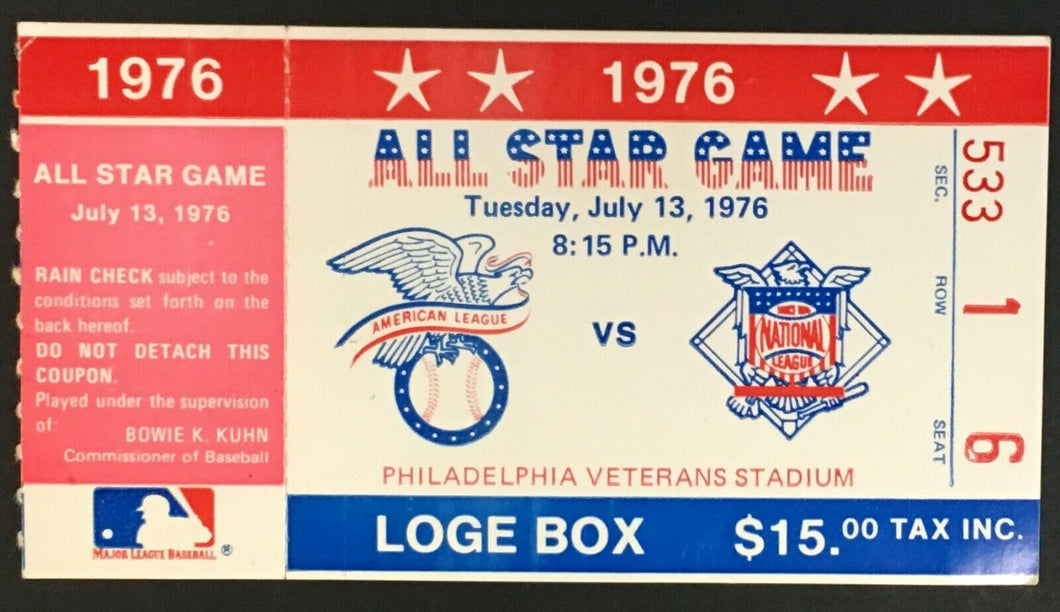 1976 MLB All Star Baseball Game Ticket Philadelphia Veterans Stadium Vintage