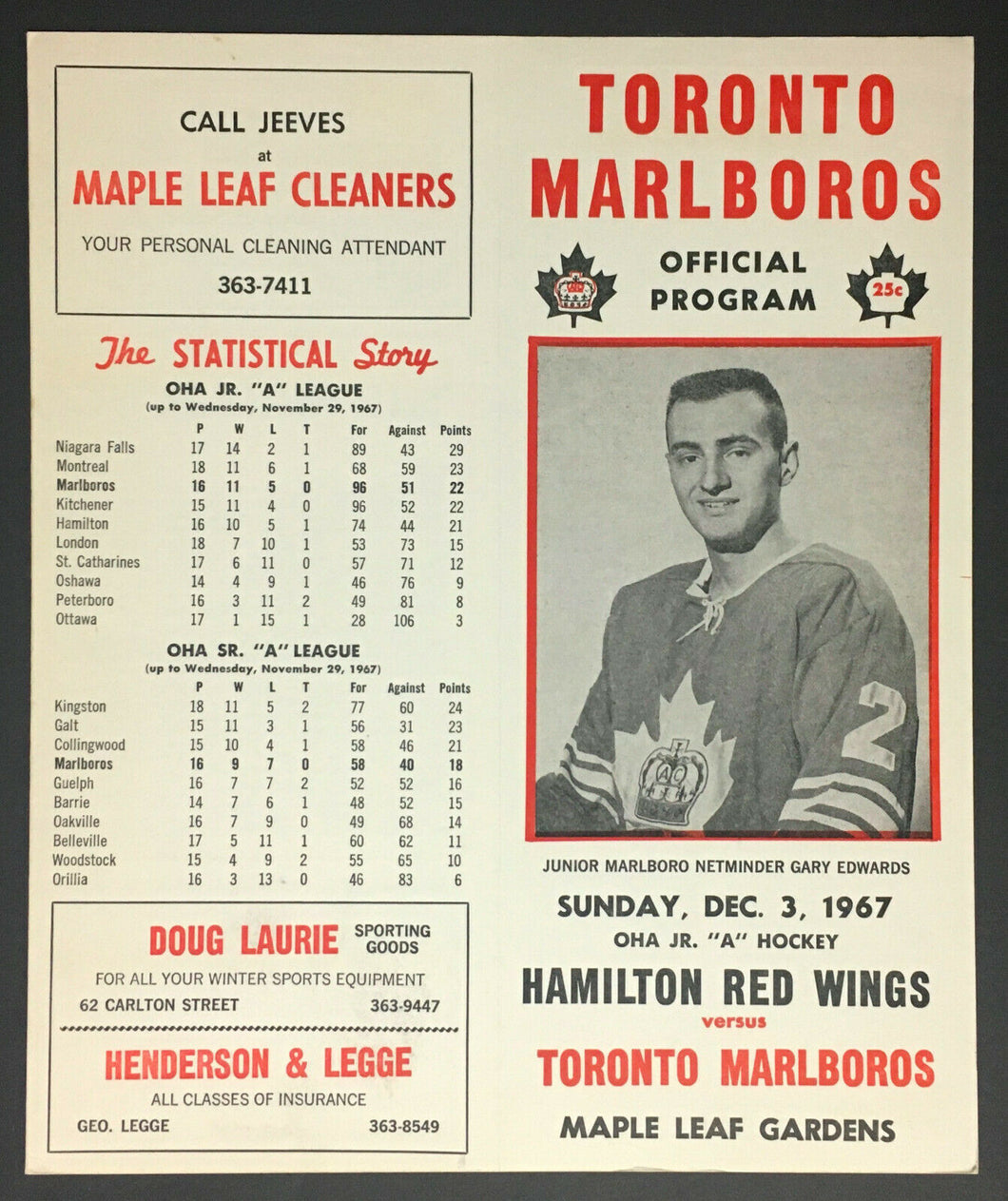 1967 Toronto Marlboros Official Hockey Game Program Hamilton Red Wings