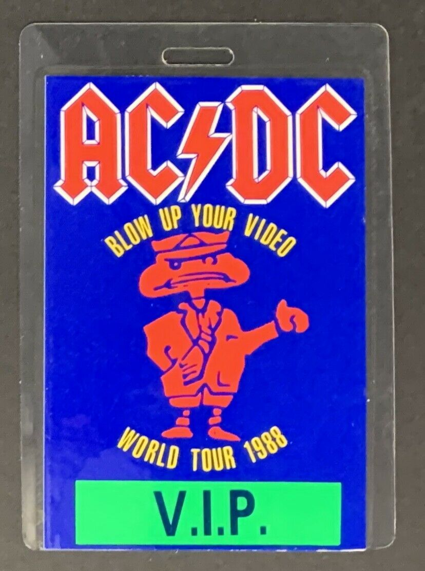 1988 AC DC Backstage Pass Blow Up Your Video Tour Laminated VIP Access Pass