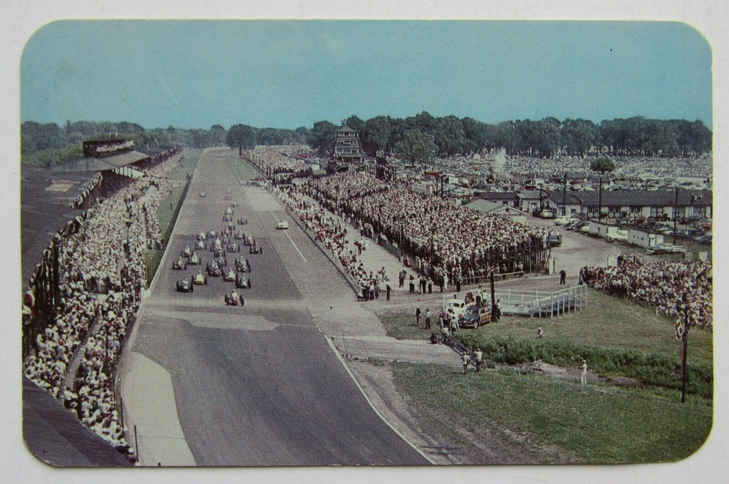 1950s Starting Of Indy 500 Postcard Indianapolis Motor Speedway Vintage Racing