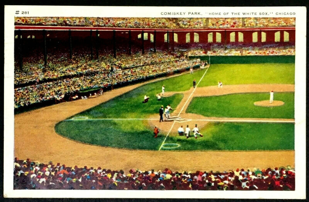 1940 Comiskey Park Baseball Stadium Post Card Chicago White Sox MLB Interior