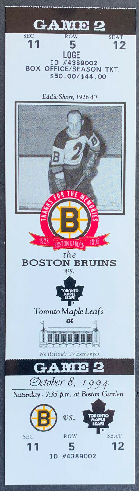 1994 Boston Garden Final Season Unused Ticket Bruins vs Maple Leafs Eddie Shore