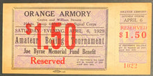 Load image into Gallery viewer, 1929 Boxing Ticket Orange Armory 44th Division Signal Corps Amateur Tournament