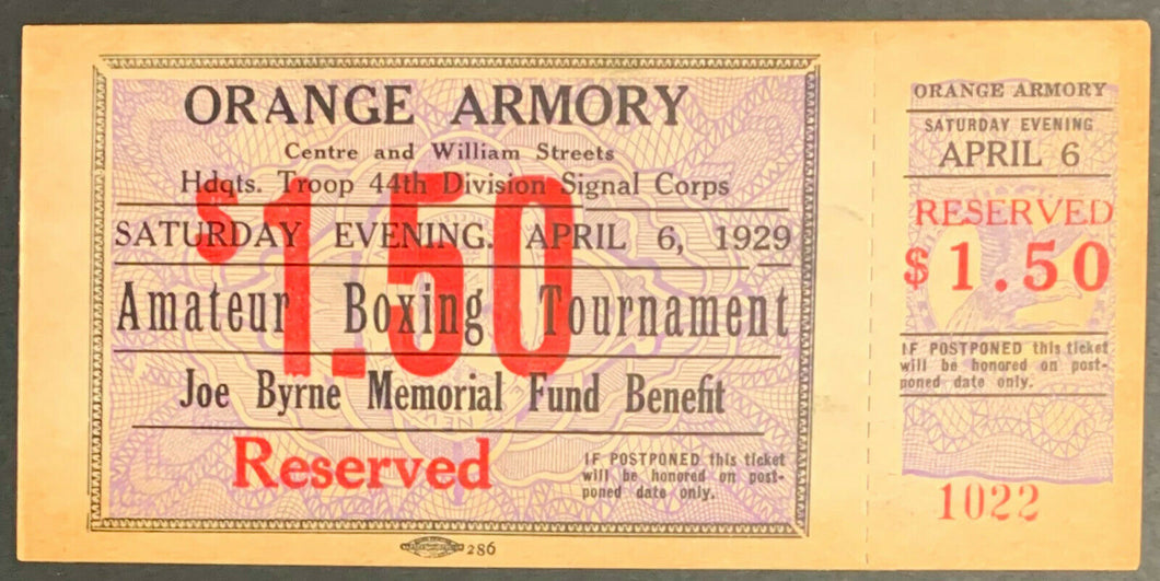1929 Boxing Ticket Orange Armory 44th Division Signal Corps Amateur Tournament