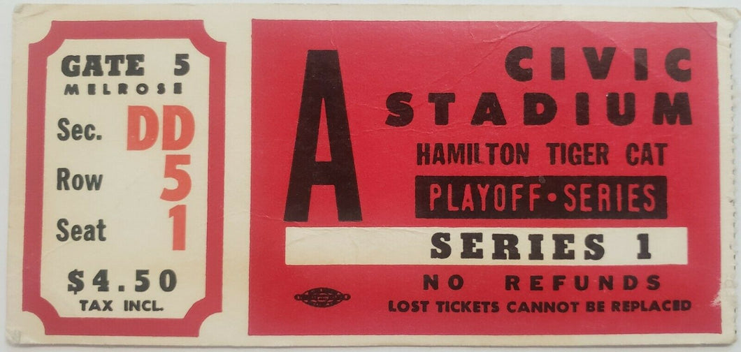 1966 Civic Stadium Playoff Series 1 Ticket Hamilton Tiger Cats CFL Football Stub