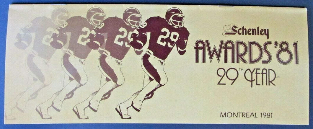 1981 Vintage CFL Football Schenley 29th Anniversary Awards Program