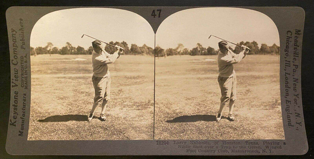 1929 Keystone Stereoview Card Larry Nabholtz Golf Photo Winged Foot Country Club