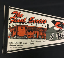 Load image into Gallery viewer, 1991 Baltimore Orioles MLB Pennant The Final Series Memorial Stadium Full Size