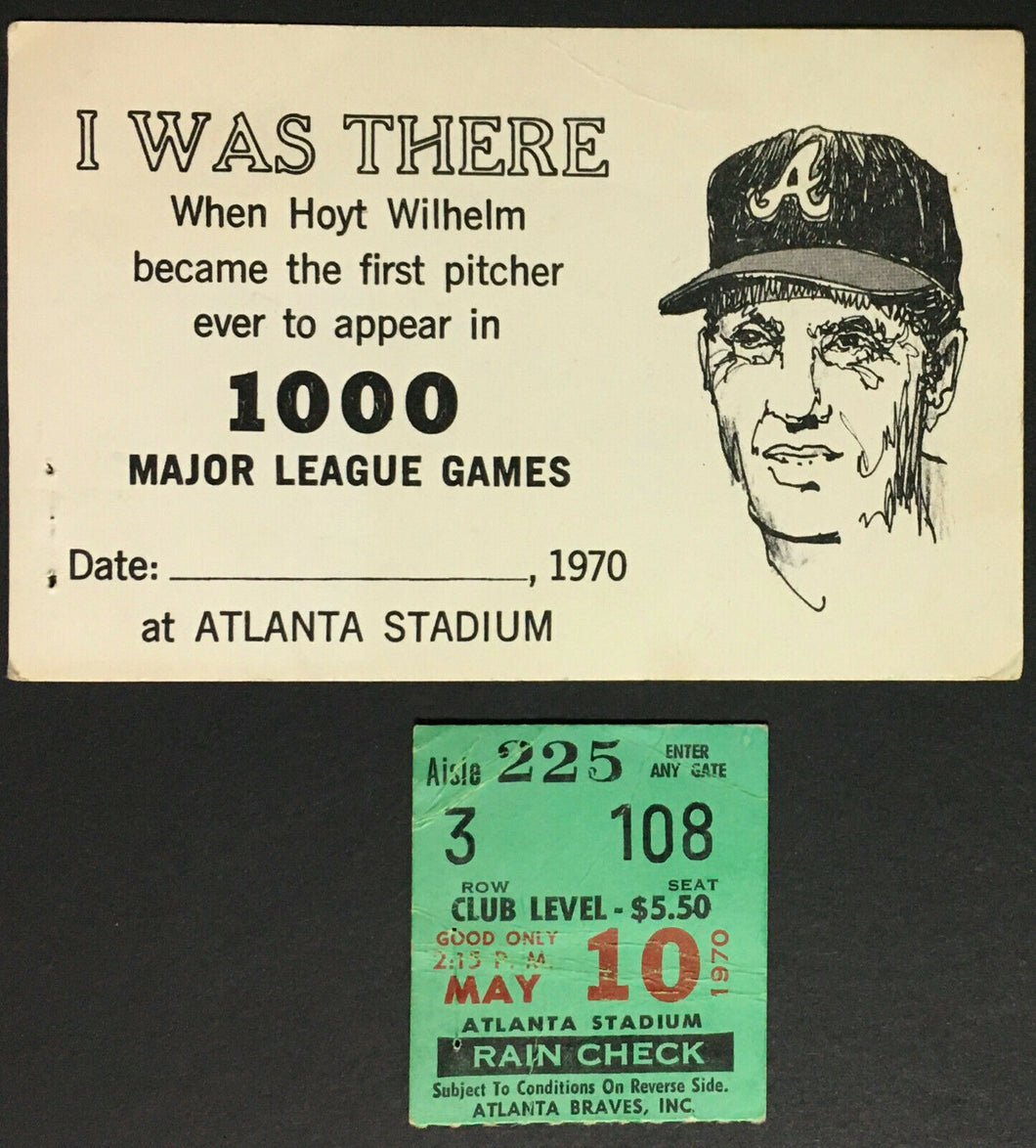 1970 MLB Hoyt Wilhelm Signed First Pitcher Appearing 1000 Games Card + Ticket