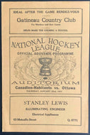 1931 Ottawa Auditorium Hockey Program Montreal Canadiens vs Senators Hainsworth