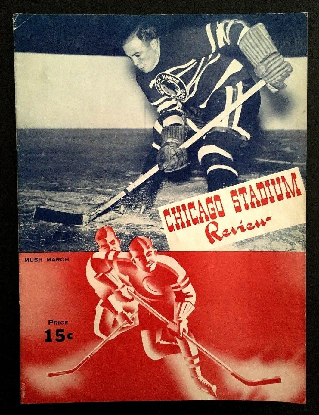 1942 Chicago Blackhawks Montreal Canadiens Hockey Program Maurice Richard Rookie