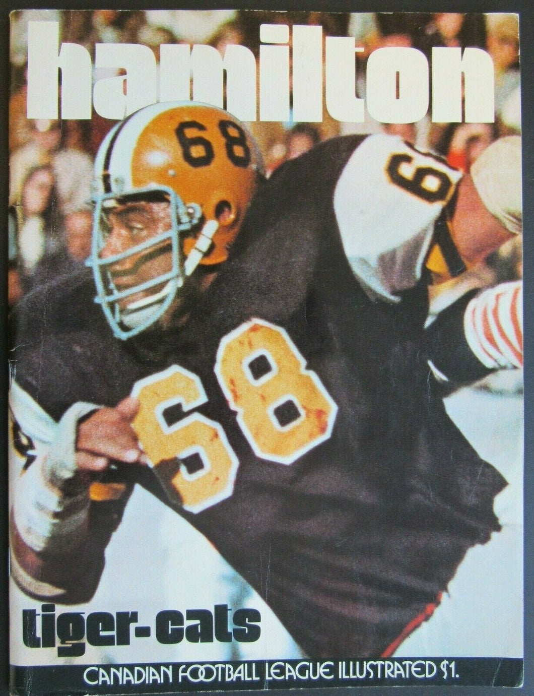 1972 Empire Stadium CFL Program + Tiger Cats Yearbook Hamilton vs BC Lions Mosca