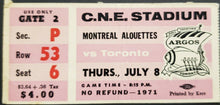 Load image into Gallery viewer, 1971 C.N.E. Stadium Montreal Alouettes vs Toronto Argonauts CFL Football Ticket