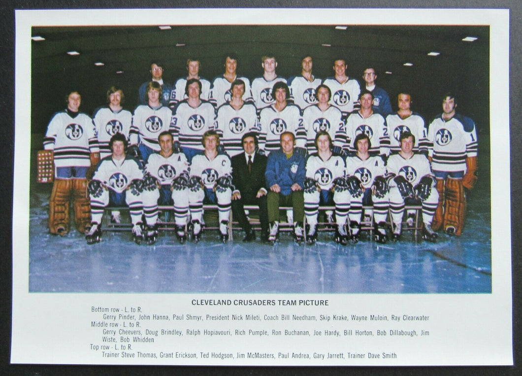 1970s WHA Cleveland Crusaders Team Issued Photo 5x7 Gerry Cheevers Vintage