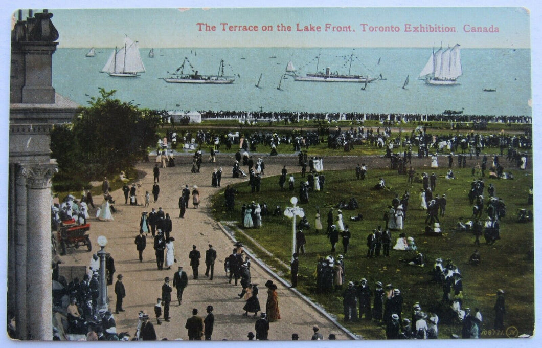 Circa 1910 Vintage Toronto Exhibition (CNE) Postcard - Terrace On The Lake Front