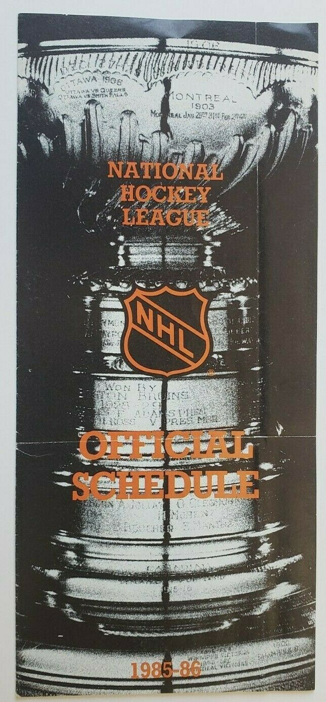 1985/1986 National Hockey League Official Schedule Gretzky Back Featured NHL