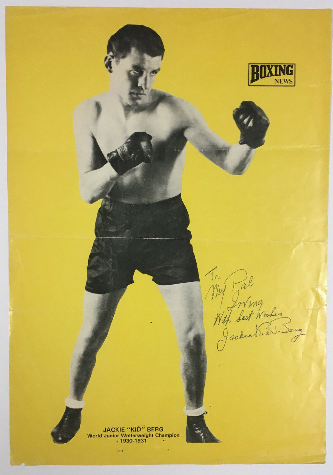 1930s Boxing News Poster Champion Jackie Kid Berg Autographed Signed To Ungerman