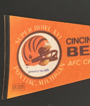 Load image into Gallery viewer, 1982 Cincinnati Bengals AFC Champions Superbowl XVI Official NFL Pennant 30""