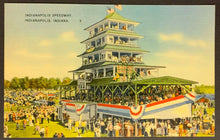 Load image into Gallery viewer, 1930's Indianapolis Speedway Linen Post Card Racing Vintage Pagoda Indy 500