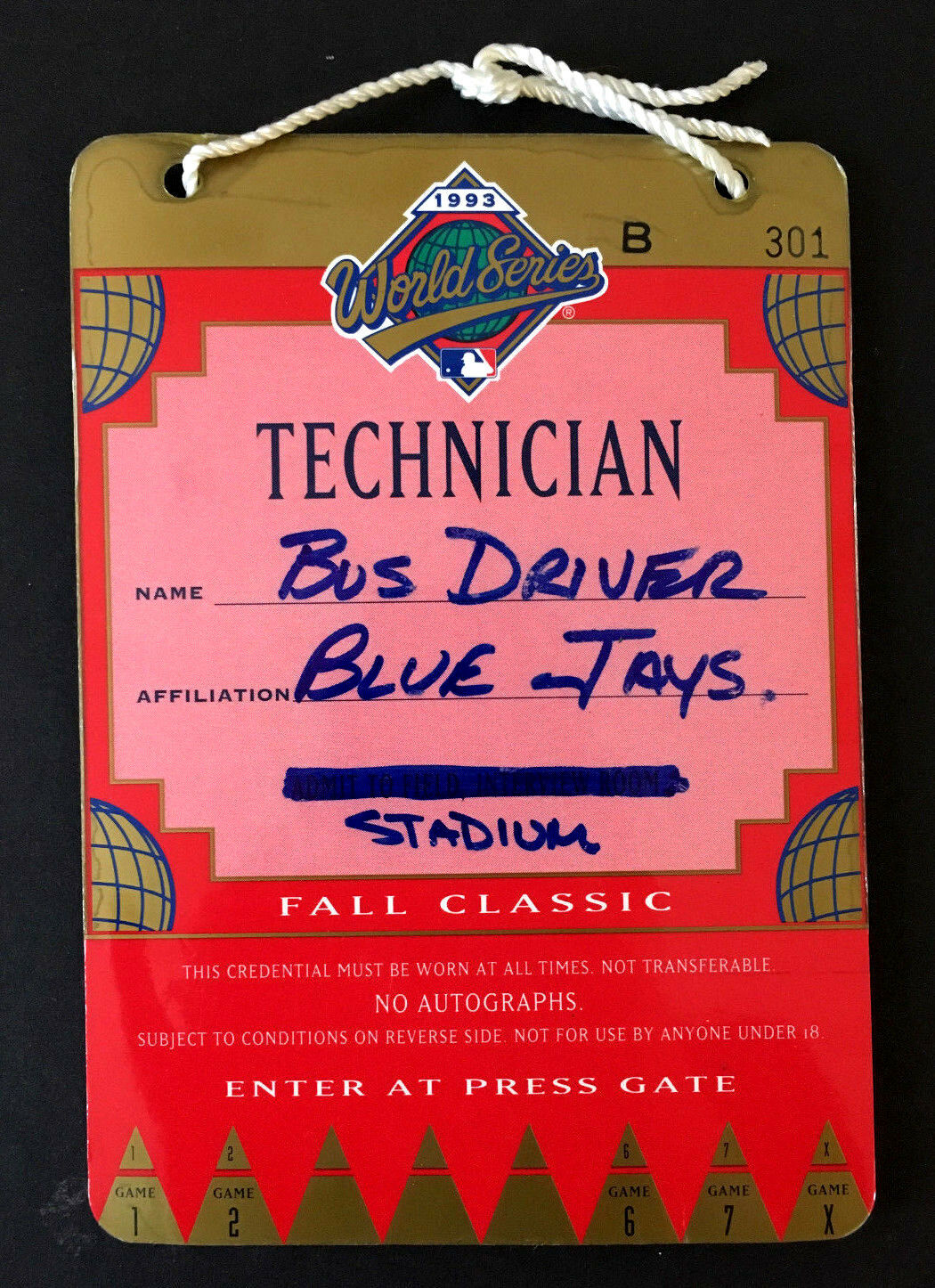 1993 World Series Baseball Toronto Blue Jays Tech Credentials For Bus Driver