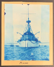 Load image into Gallery viewer, 1898 USS Maine Battleship Started Spanish American War Cyanotype Vintage Photo