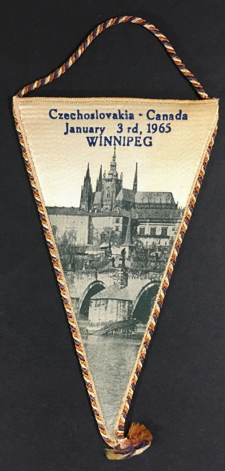 1965 International Ice Hockey Game Pennant Czechoslovakia Canada Winnipeg