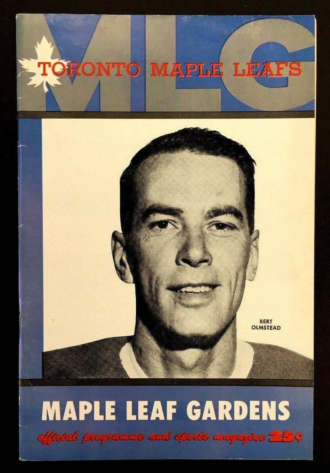 1958 Maple Leaf Gardens NHL Hockey Program VTG Leafs vs Rangers Bert Olmstead