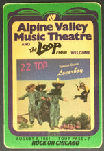 Load image into Gallery viewer, 1981 ZZ Top & Loverboy Alpine Valley Music Theatre Concert Promo Decal Satin