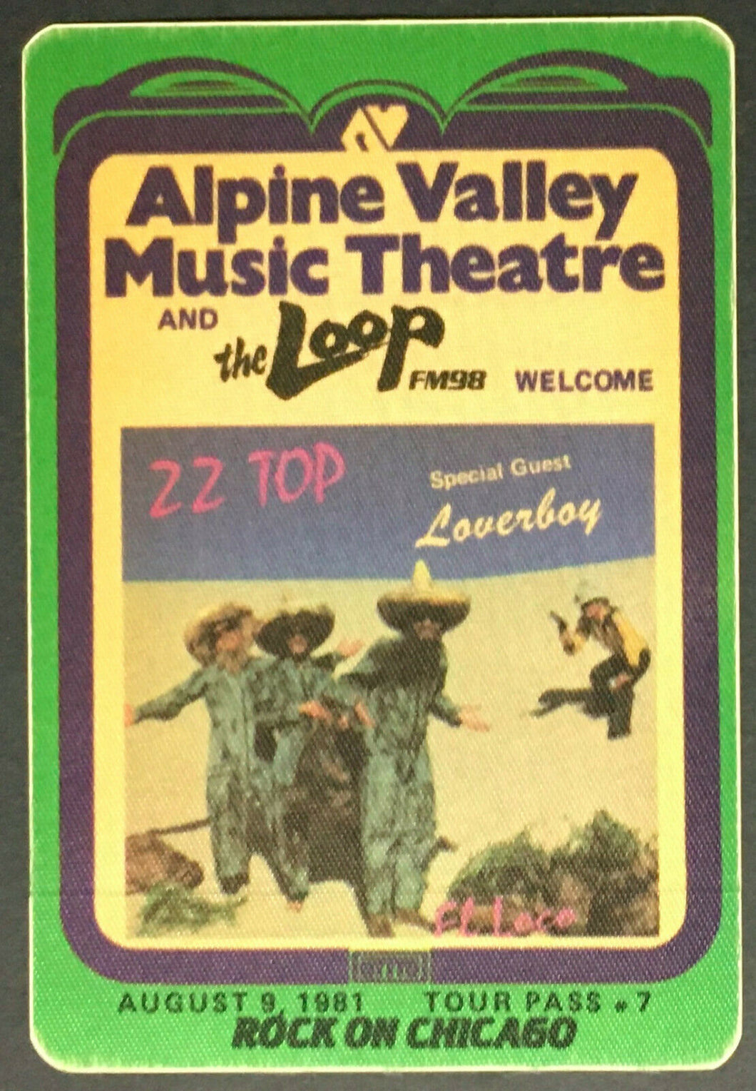 1981 ZZ Top & Loverboy Alpine Valley Music Theatre Concert Promo Decal Satin