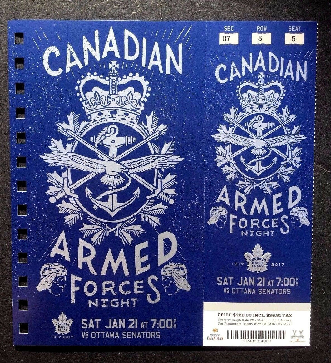 2016-17 Maple Leafs vs Ottawa Senators Armed Forces Night Featured Ticket
