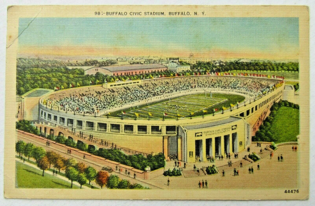 Circa 1940 Buffalo Civic Stadium Postcard Bills AFL New York Football Unposted