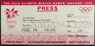 1998 Winter Olympics Men's Ice Hockey Ticket Russia Czech Republic Nagano Japan